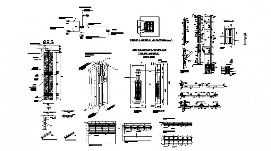 Electrical unit detail 2d view CAD block layout file in