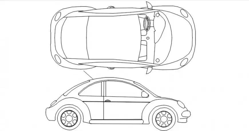 Elevation of car vehicle blocks autocad software file