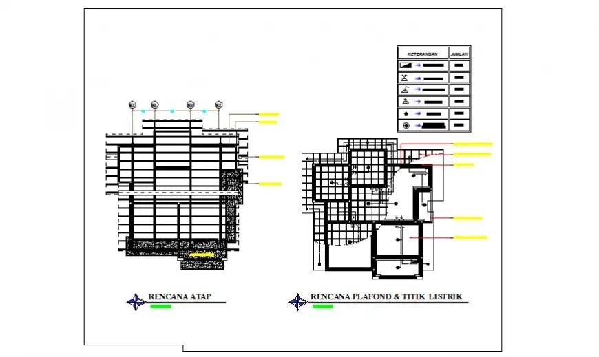False ceiling design of single family house design drawing