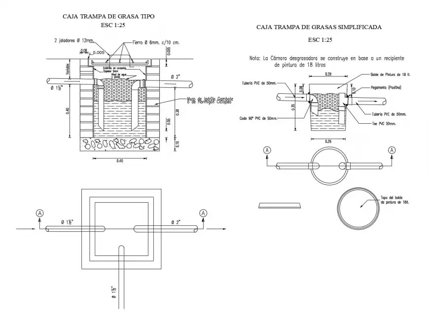 Fat trap chamber with plumbing construction cad drawing