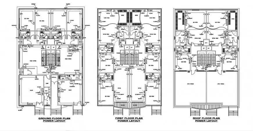 Floor drawing details of building with electrical