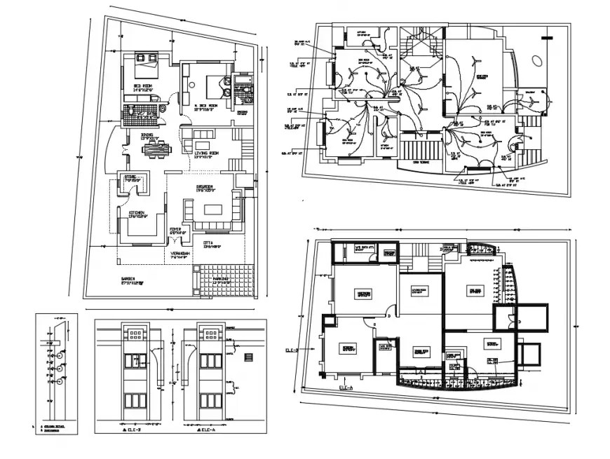 Floor plan, electrical layout plan and auto-cad details of