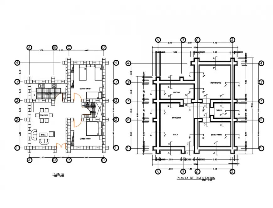 Foundation plan and layout plan details of single story
