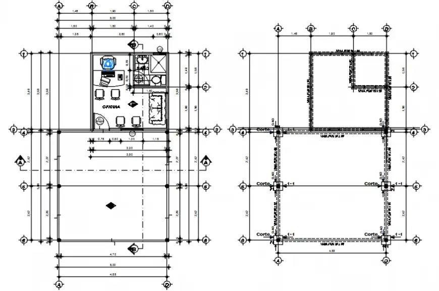 Foundation plan and layout plan drawing details of car