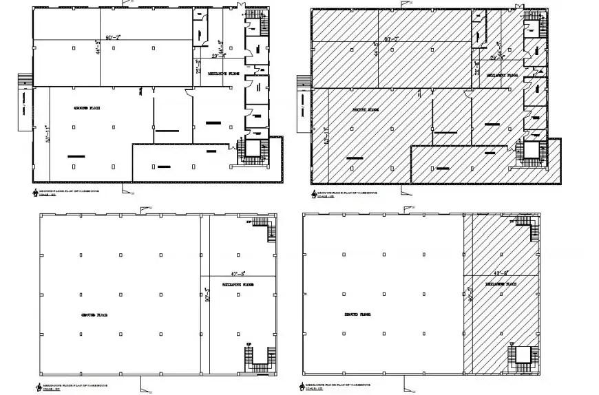 Four floor plan distribution details of industrial