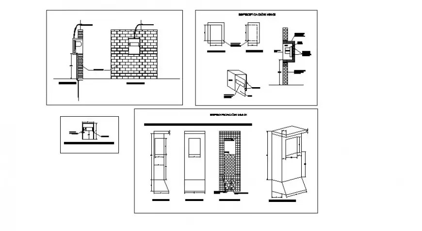 Fuse box fitting detail 2d view CAD electrical automation