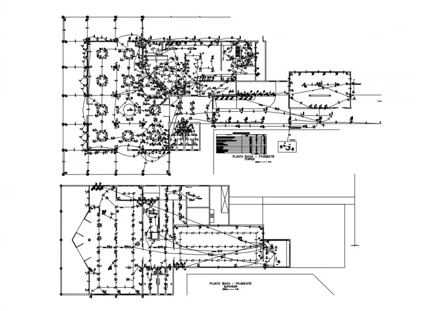 Ground and first floor electrical layout plan cad drawing