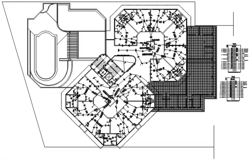 Ground floor cover plan with electrical installation of