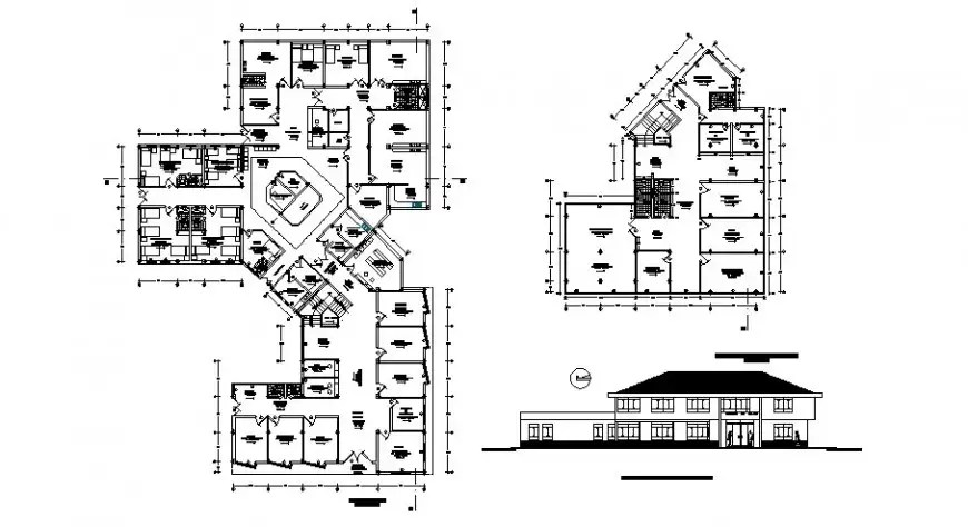 Health center main elevation with ground and first floor