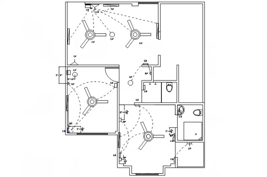 House ceiling electrical layout plan cad drawing details