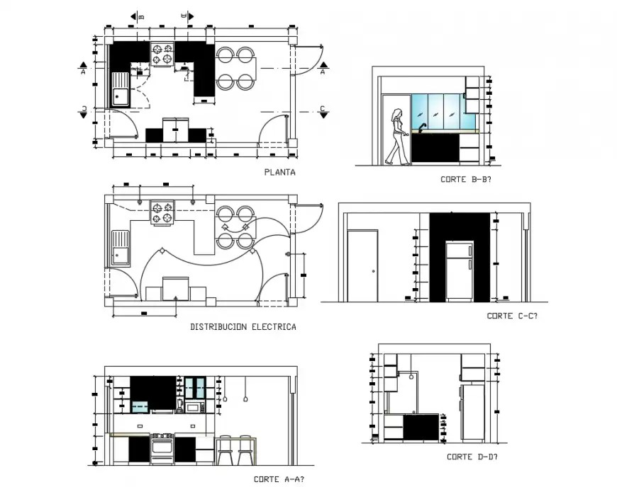 House kitchen plan, section and electrical distribution