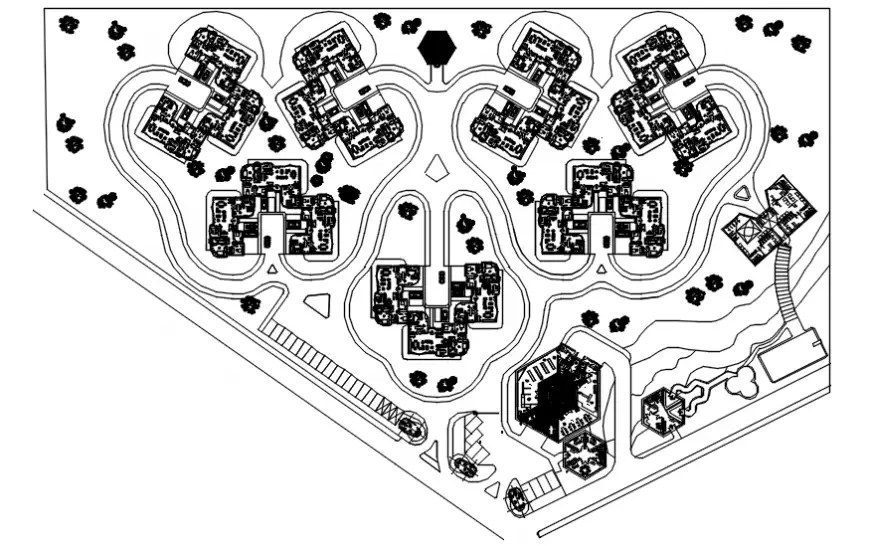 House plan with its circulation area with layout in