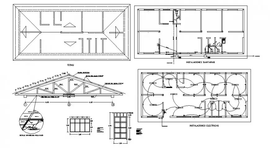 House roof construction, electrical layout and auto-cad