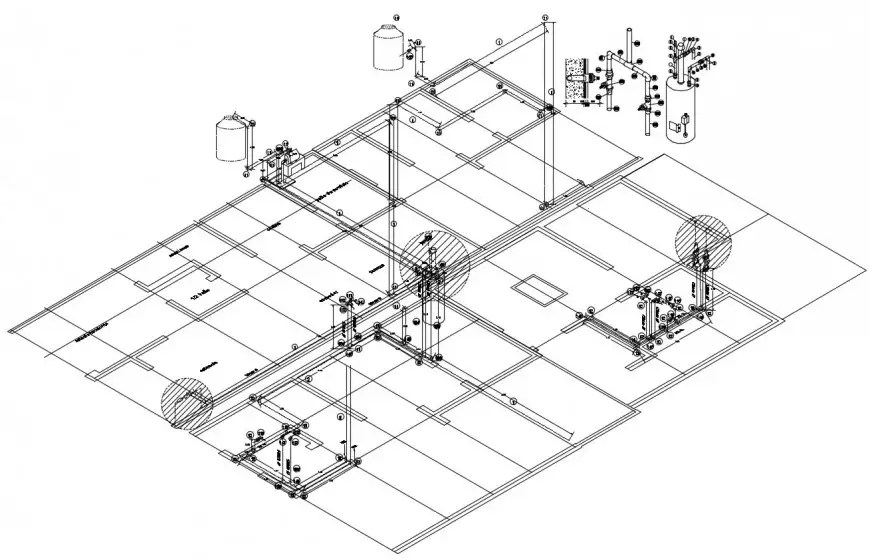 Hydraulic water system diagram for sanitary facilities