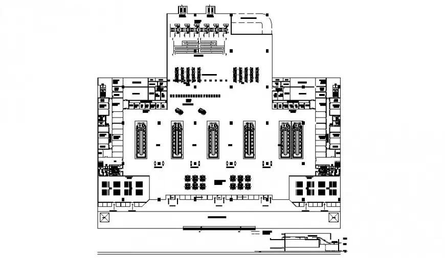 Industrial building floor plan drawings detail 2d view