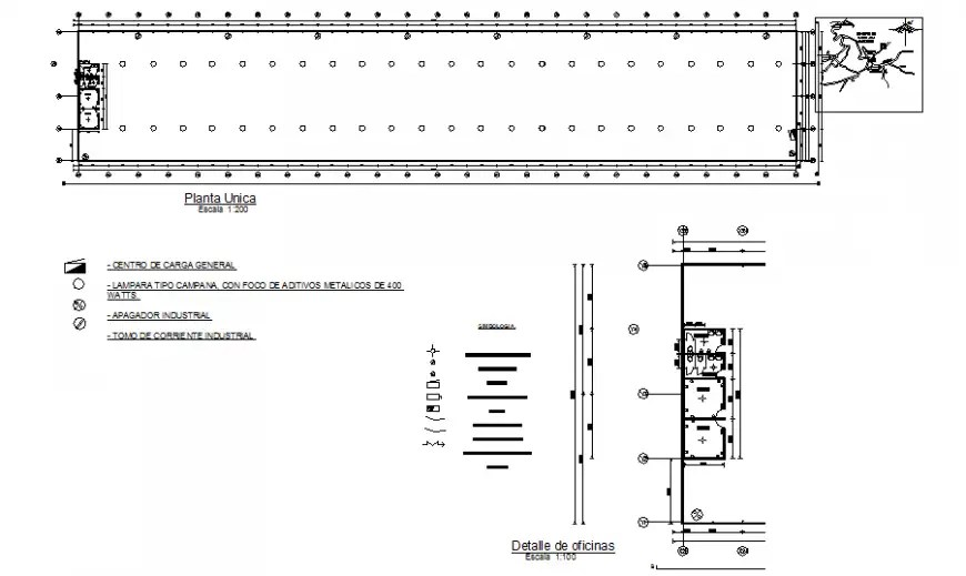 Industrial single plant electric installation details dwg