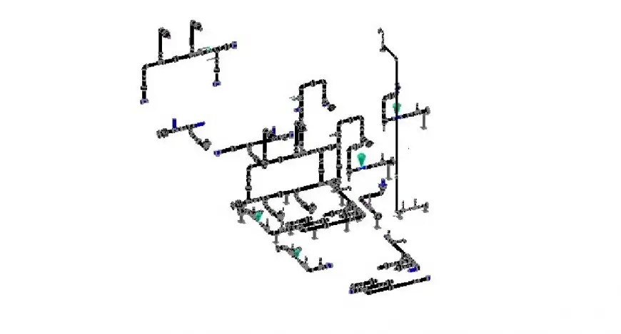 Isometric layout plan details of water utility processing