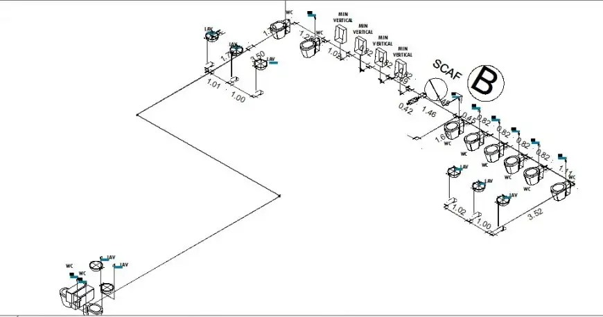 Isometric plan and sanitary installation and plumbing