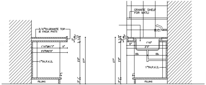 Kitchen sink installation and plumbing structure cad
