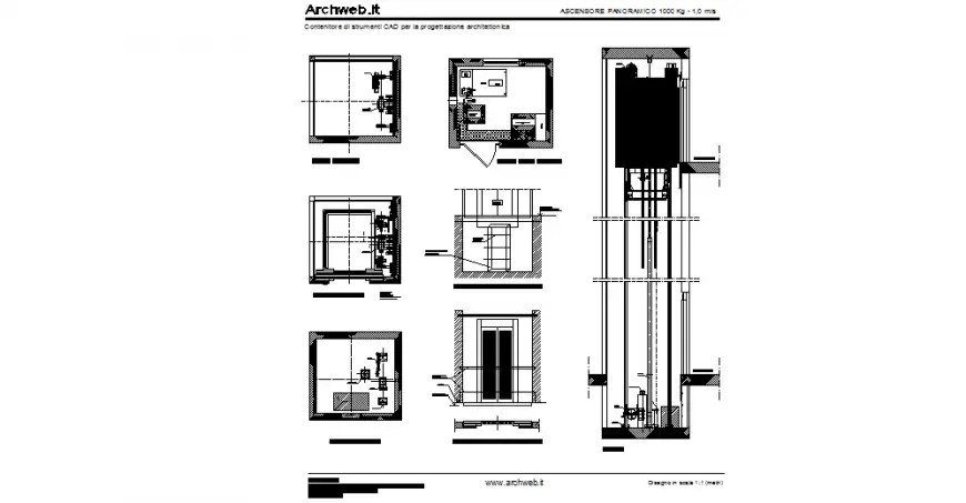 Lift plan and elevation design view with up-down position