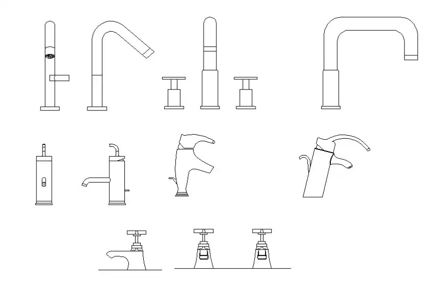 Miscellaneous bathroom tap blocks cad drawing details dwg