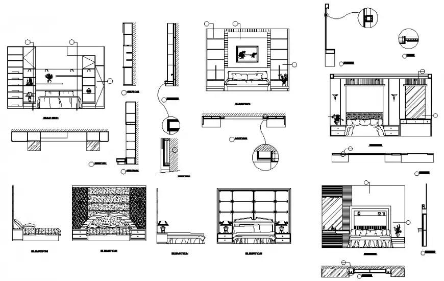 Modern bedroom furniture plan, elevation and section
