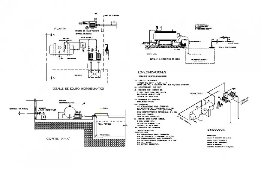 Motor pump section and hydraulic water installation cad