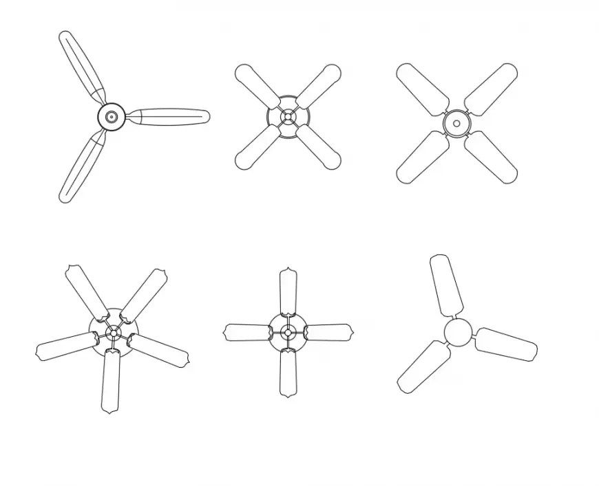 Multiple house hold ceiling fans cad block details dwg