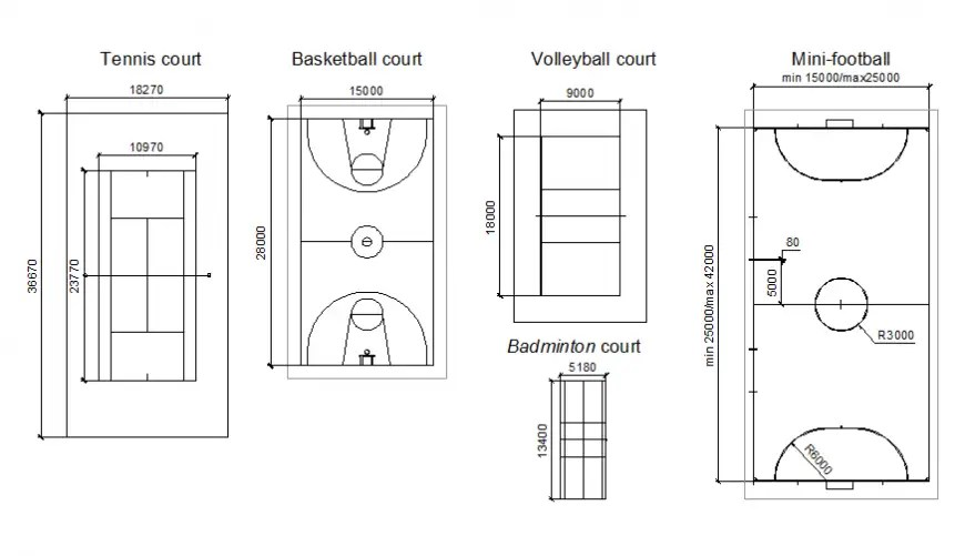 Multiple sports ground dimensions and diagram cad drawing