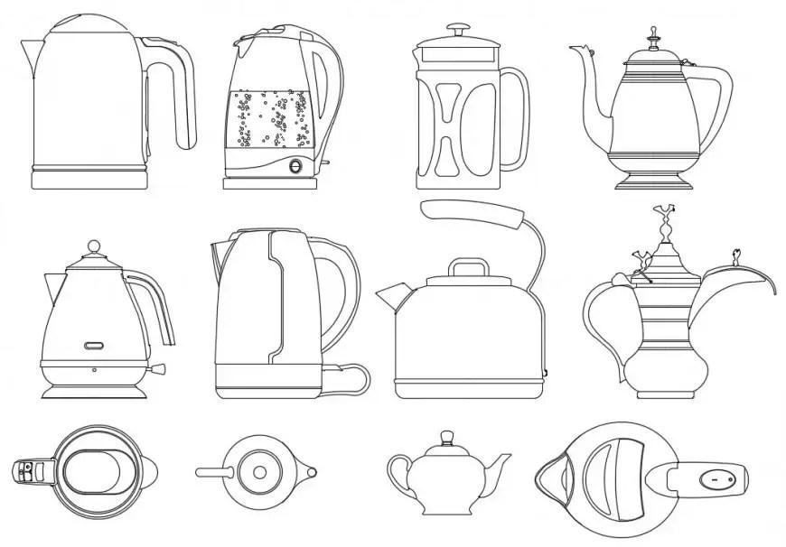 Multiple teapot kettle elevation blocks drawing details