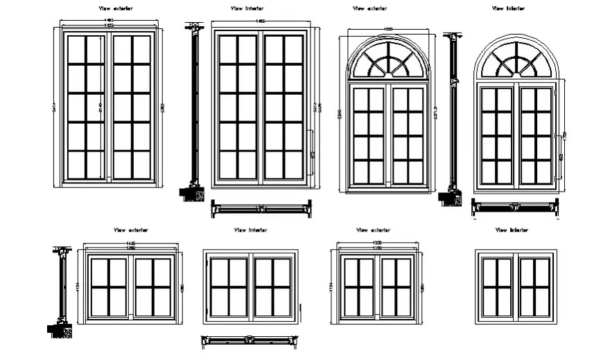 Multiple window elevation blocks with supportive wall cad
