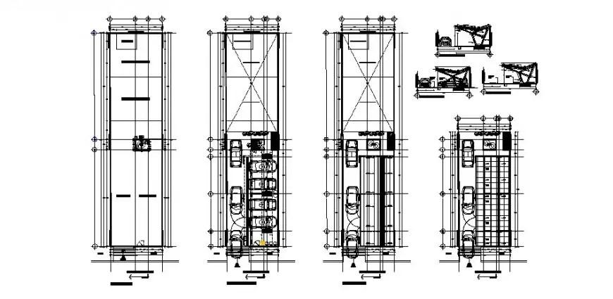 Municipal parking building floor plan, sanitary and