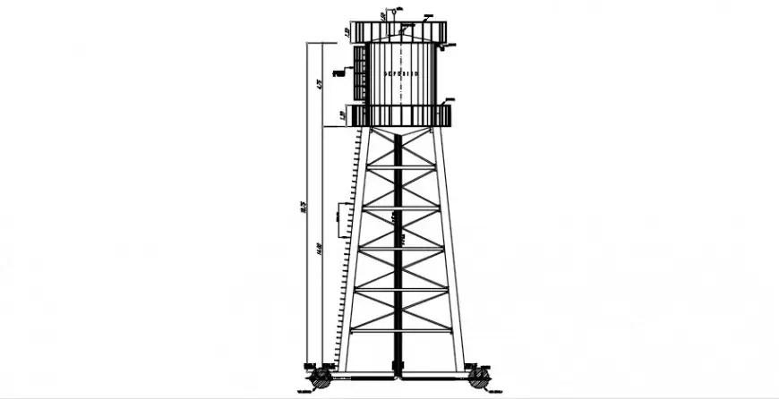 Overhead water tank 2d view elevation drawings dwg file