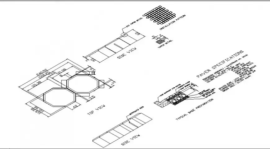 Paver elevation, section, plan, installation and cad