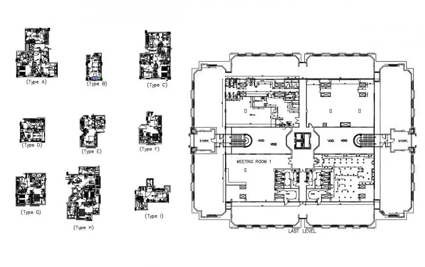 Pent house general plan and electrical layout plan details