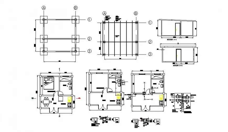 Plan and section of house CAD structural block layout