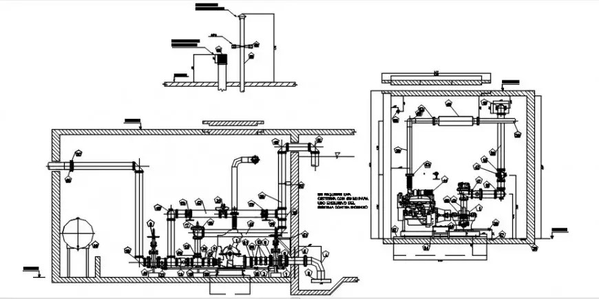 Pump room section, plan, plumbing structure and electrical
