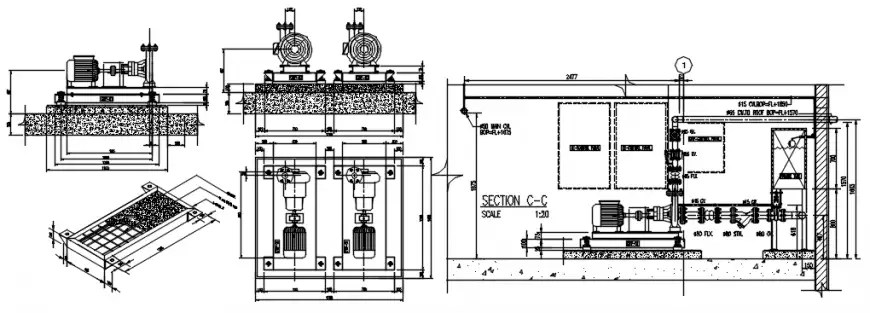 Pump room section, plumbing structure and water system