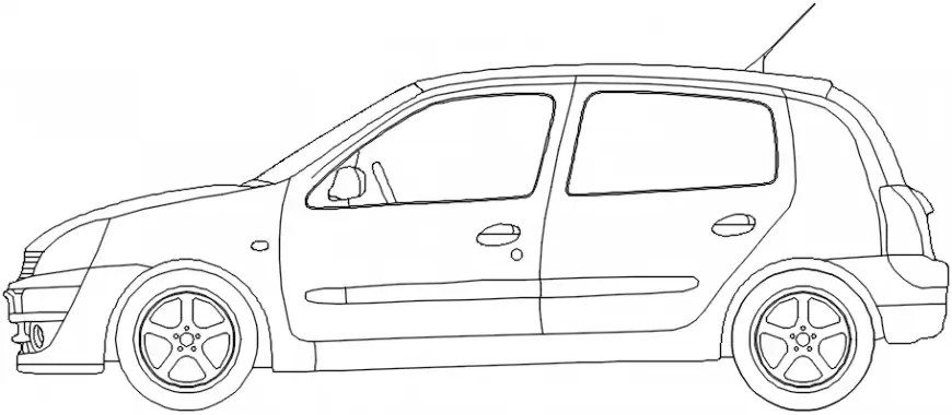 Renault clio car side elevation block cad drawing details