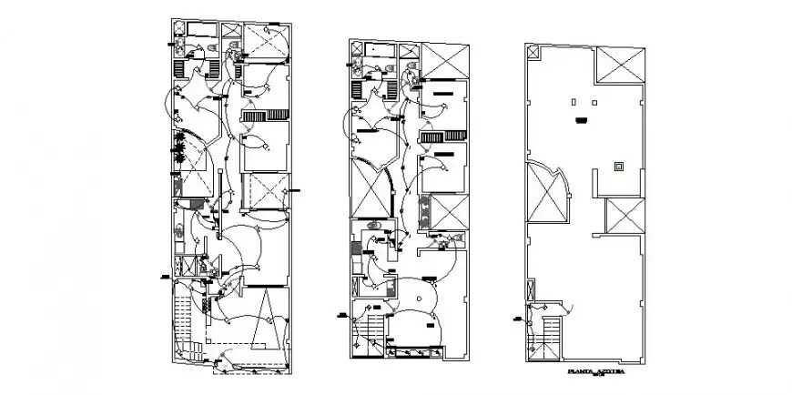 Residential building electrical working detail layout plan