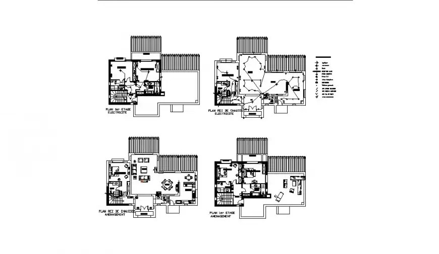 Residential house floor plan and electrical plan cad