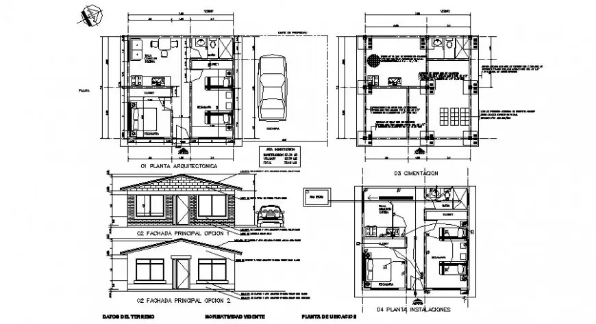 Residential house plan and elevation with electrical