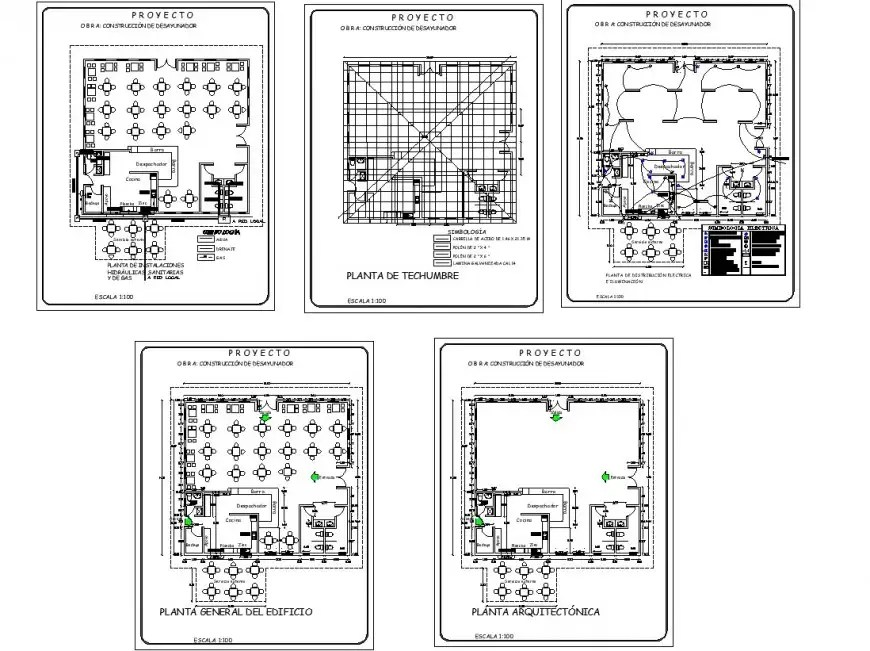 Restaurant building plan and electrical fittings detail 2d