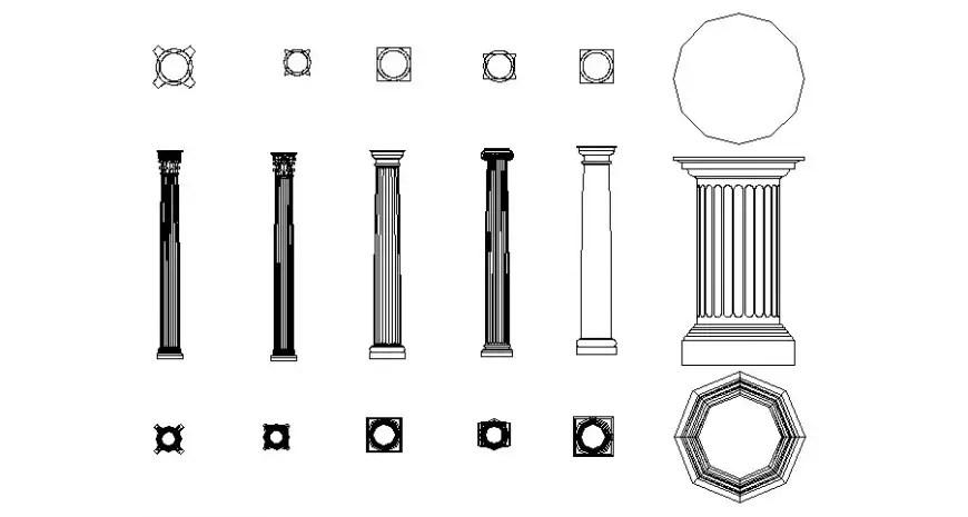 Roman art designer column plan elevation and bottom view
