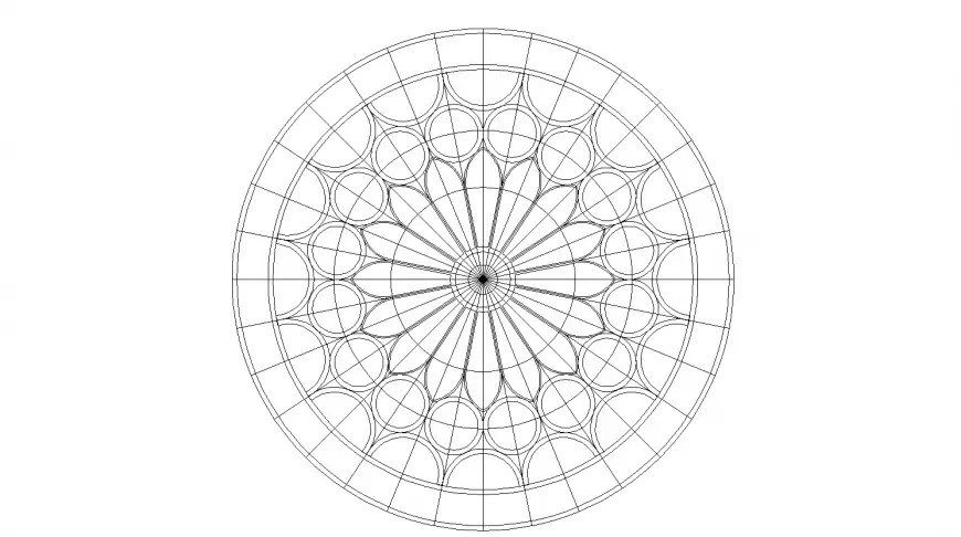 Rose-tone round shaped window block cad drawing details