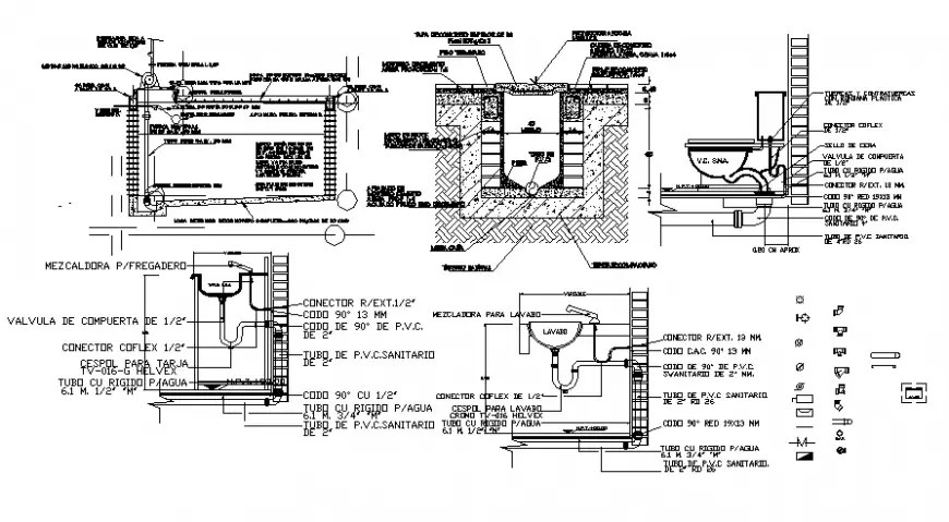 Sanitary watercloset and sewage system 2d drawing autocad