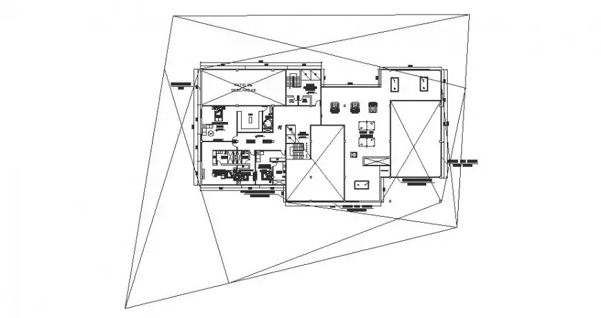 Second floor distribution plan details of club house cad