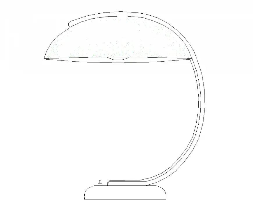 Semi-arc lamp CAD blocks detail elevation layout 2d view