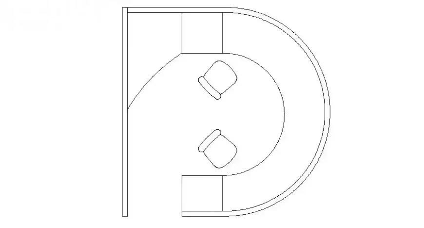 Semi-circle shape table desk drawings 2d view elevation
