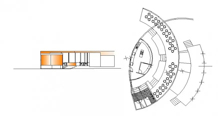 Semicircular restaurant building plan and elevation